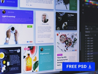 Free Ui Kit - Flat Lay free download ui kit ux ui elements cards web psd freebie free