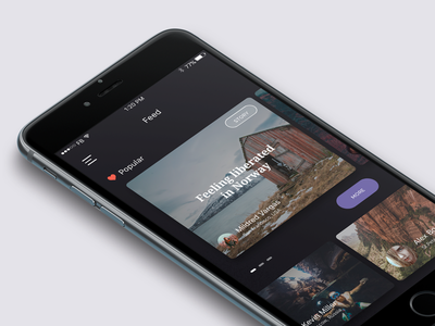 Feed feed button cards travel screen popular iphone ux ui app ios