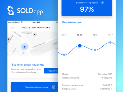 SOLDapp blue colors sold flat apartment rent graphic ux ui app mobile ios