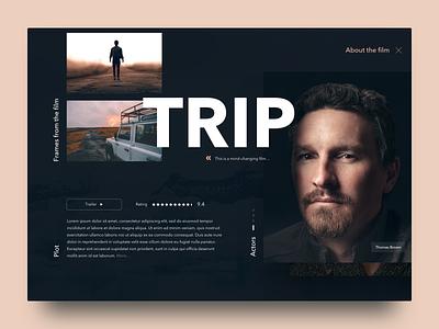 Film trip film dark landing ux typography movie dribbble design web ui