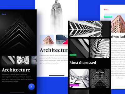 Architecture app screens light dark app dark feed design dribbble ux ios mobile app ui