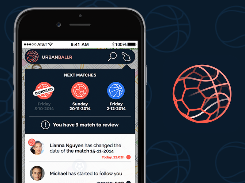 UrbanBallr notifications screen notifications iphone mobile ui ux