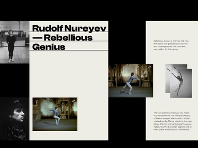 Rudolf Nureyev — Rebellious Genius uiux modernism website concept website web webdesig interaction concept uidesign animation ui