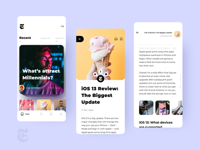 The New York Times App Concept colorful white clean minimal userinterface mobile app design mobile design mobile app mobile ui mobile new york application appdesign ux ui uidesign concept application design app
