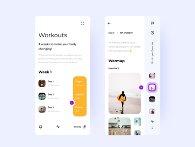 Workout Planner clean design colorful application mobile uidesign ui concept application design app