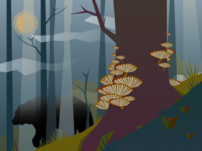 Bears in an Autumnal Forest misty fungi mystical bear forest ecology vector nature illustration