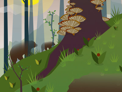 Bears in a Summery Forest summer berries mystical fungi biodiversity bear vector nature illustration ecology