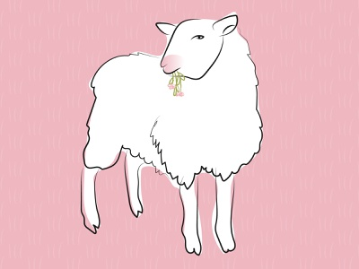 This Sheep is Watching You agriculture pink fluid vector nature illustration sheep