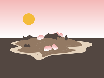 Once Upon a Time on an Island... little worlds brown sunshine houses island pink gradient vector illustration