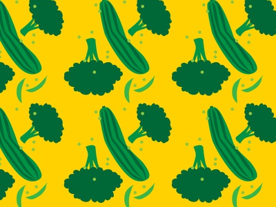 A very vegetable pattern cucumber peas broccoli green yellow pattern vegetables vector illustration