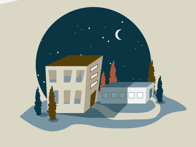 A little cityscape wonky buildings night city vector illustration