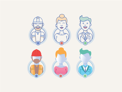 Worker characters design branding illustration color icon illustrator womans woman vector 2d 3d character worker