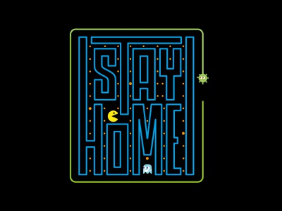 Stay Home! virus covid19 pacman color icon vector illustration stayhome