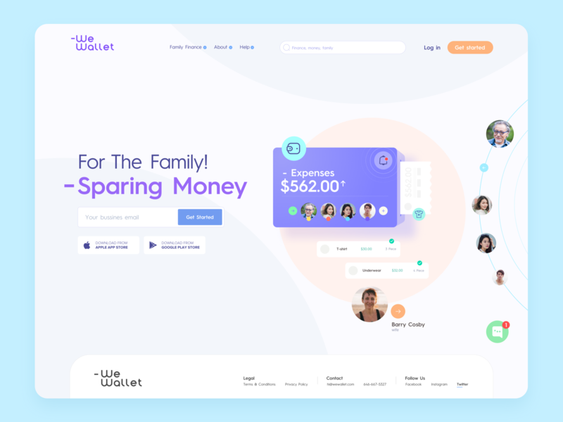 -We Wallet Landing Page expenses finances typography branding ui design color logo icon vector illustration landingpage webdesign wewallet