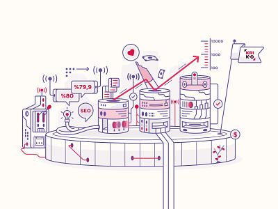 Kroki Workflow customer idea workflow space branding design color logo icon vector illustration agency seo kroki