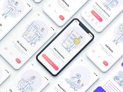 GSM Plus - Illustrations content design visual onboarding iphone ui design color logo icon vector illustraion app plus gsm