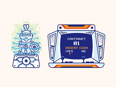 Continue Game insertcoin arcade branding ui design color icon vector illustration concept knight game continue