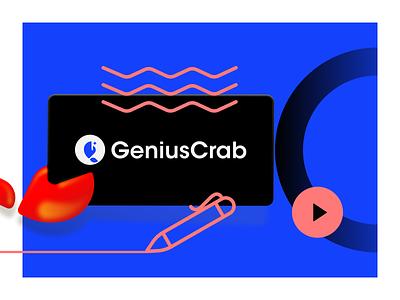 GeniusCrab Brand minimal friend crab moreicon space typography branding ui color vector illustration design icon logo brand geniuscrab