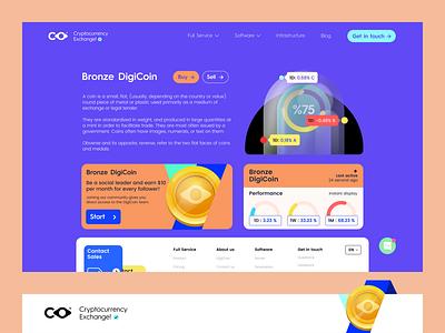 DigiCoin Web Design app iphone web minimal 3d coin typography ux branding ui design logo color vector icon illustration