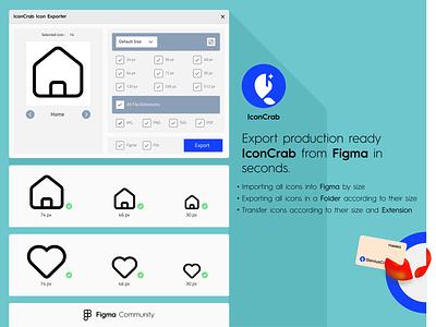 IconCrab - Icon Exporter figmacommunity iconexport iconcrab plugin figma creator typography ux branding ui design color logo vector illustration icon