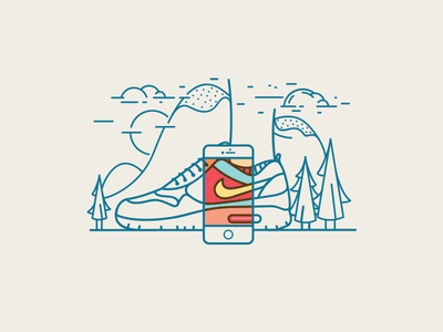 iPhone + Nike Airmax cloud tree foot line vector nature airmax nike iphone