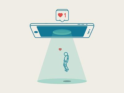 Recent Appreciation mobil tech hearth dead alien illustration vector icon life iphone like