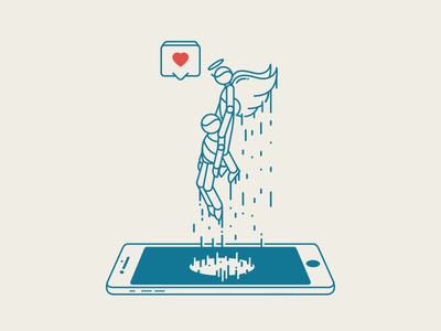 Bring Back To Life mobil tech iphone swamp heart illustration vector angel life