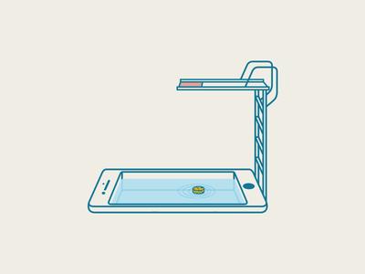 Phone Pool stairs illustration vector tech summer water sponge pool iphone