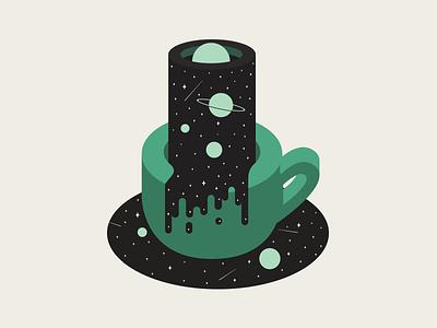 Coffee Alone planet color bean black illustration cup orbit icon alone coffee