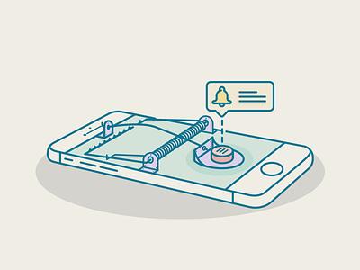 Unsubscription Trap mailchimp notfication mail phone illustration icon bell user trap button ui unsubscription