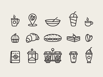 Coffee Cafe Icons tea package illustration sandvich cold hot cup eat dessert croissant icon coffee