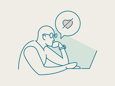 Reset! heart think designer man digital tech illustration vector icon idea work reset