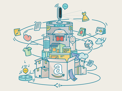 Amazon Article Cover Illustration machine illustration vision analyze tech brand vector icon photo echo article amazon