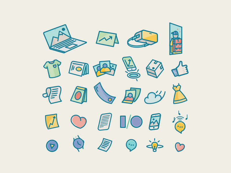 Linear Perspective Icons illusttation box colors vector photo macbook heart vr set icons perspective