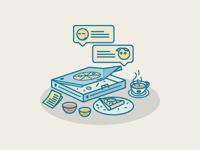 Impecunious Home Party hot emoji illustration mustard slice ketchup plate coffee pizza friend party home