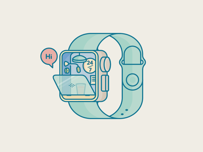 Ms. Siri Small Office button small worker ios illustration clever watch icon hi office siri iwatch