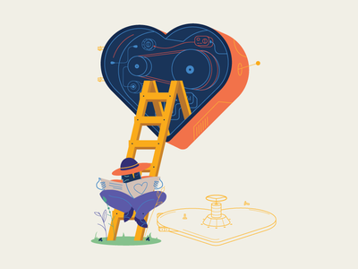 Heartless Engineer illustration vector maintenance assembly hat desperate circuit electric engineer heart