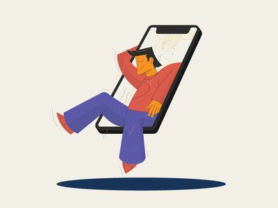 iPhoneX Comfort Zone character tech illustration phone cool vector icon smile man zone comfort iphonex