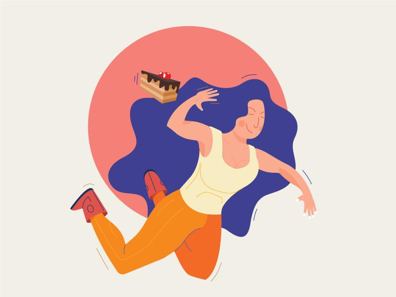 Summer Diet's fitness squat vector color no illustration cake woman diet summer