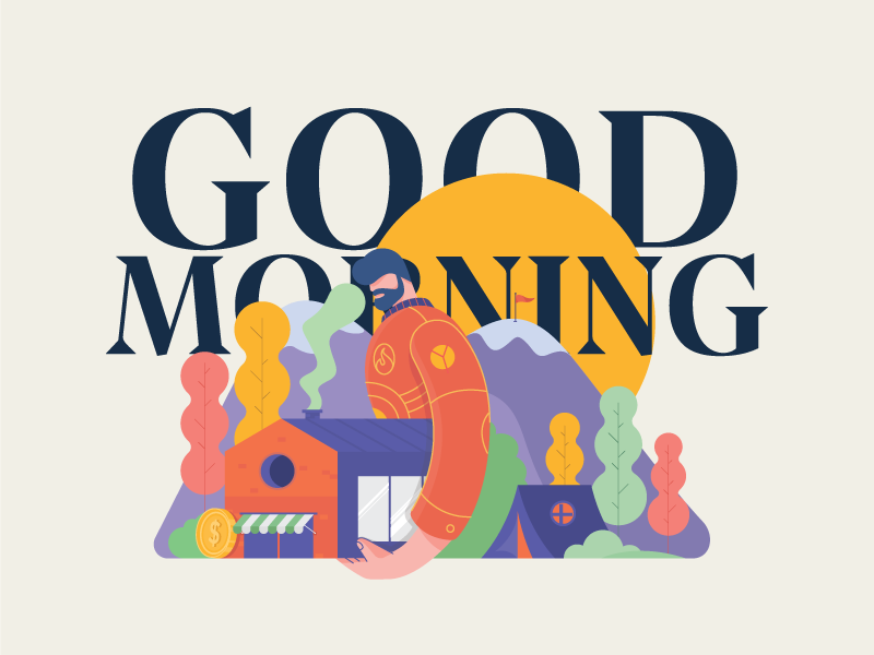 Good Morning nature tent life camp magazine editorial illustration tree vector goodmorning