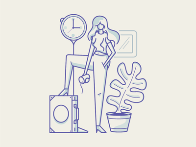 Annoying Meeting Times flowerpot illustration vector woman coffee brief case time meeting annoying