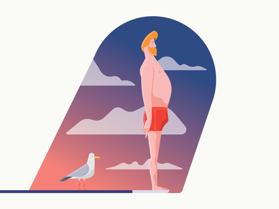 Meditation swimsuit illustration vector serenity diving board cloud seagull meditation