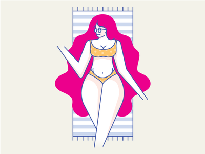 Vacation time for Betty summer hair red sexy bikini sunbathe glasses betty time holiday vacation