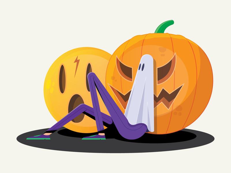 Halloween Friends! mandala ghost illustration vector icon smile pumpkin fear friends halloween