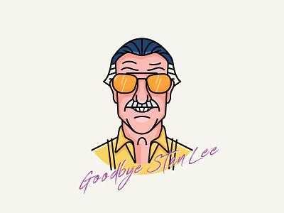 Goodbye Stan Lee rip smile ecxelsior comic marvel illustration vector icon stanlee goodbye