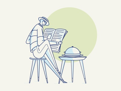 Lunch cool table chair tray hat man illustration vector lunc