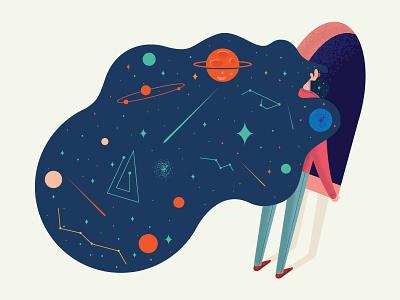 Impressionist illustrator color icon vector illustration planet star woman future space impressionist