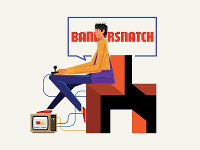 Black Mirror Bandersnatch psychological icon joystick stefan blackmirror netflix typography design color illustration vector bandersnatch