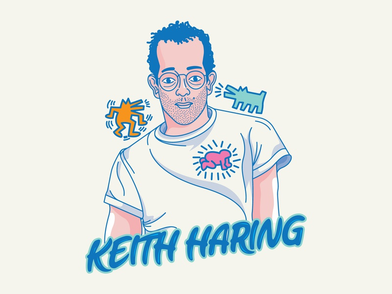 Keith Haring art streetart branding design color heart logo icon vector illustration inspirational keith haring
