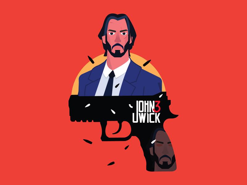 His name is John Wick! vectorart eye typogaphy bullet gun branding design icon vector illustration johnwick